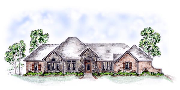 European House Plan 56546 Elevation