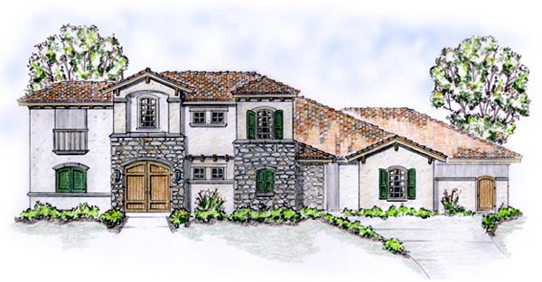 Florida, Mediterranean House Plan 56549 with 4 Beds, 4 Baths, 3 Car Garage Elevation