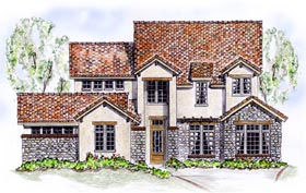 European House Plan 56551 Elevation