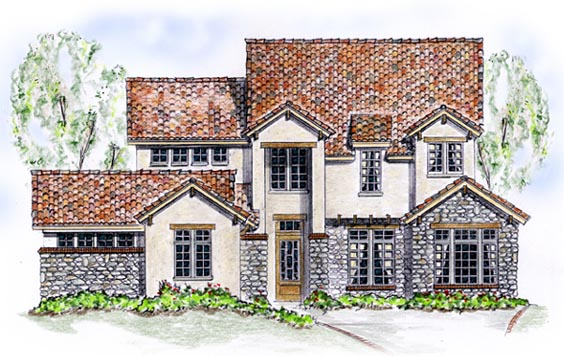 Elevation of European   House Plan 56551