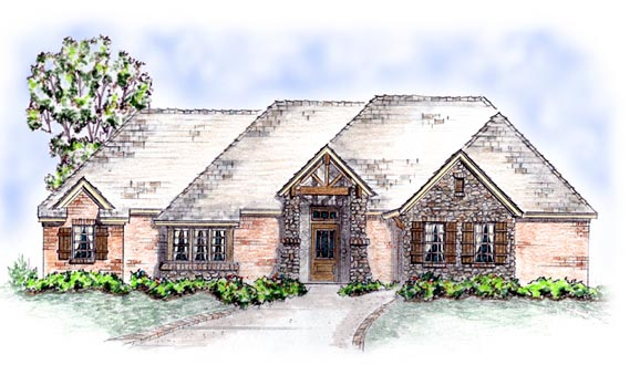 European House Plan 56552 Elevation