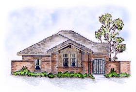 House Plan 56553 with 3 Beds, 2 Baths, 2 Car Garage Elevation