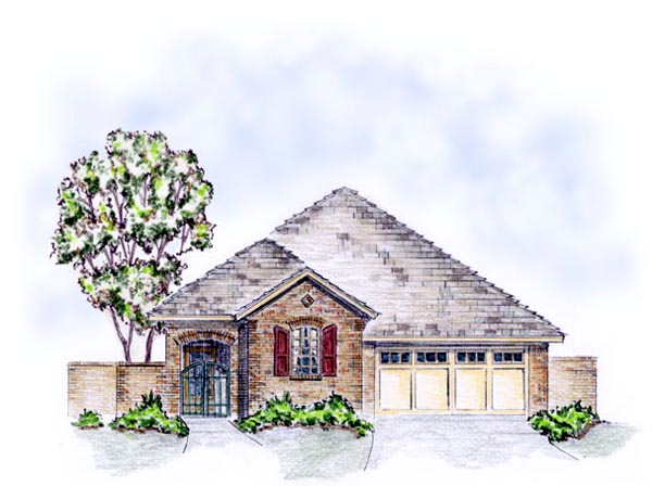 House Plan 56554 with 3 Beds, 2 Baths, 2 Car Garage Elevation