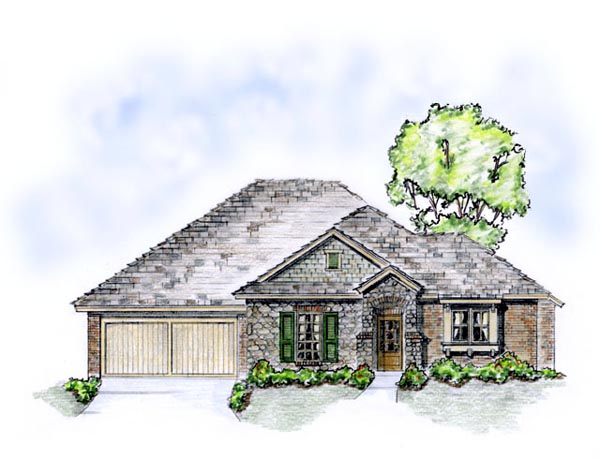 European, Traditional House Plan 56559 with 3 Beds, 2 Baths, 2 Car Garage Elevation