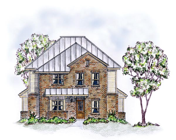 Elevation of Colonial   Farmhouse  Traditional   Multi-Family Plan 56561