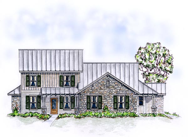 Country Craftsman Farmhouse Elevation of Plan 56562