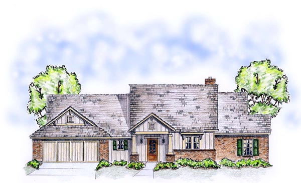 Craftsman, Traditional House Plan 56563 with 3 Beds, 2 Baths, 2 Car Garage Picture 1