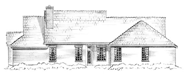 House Plan 56563 | Craftsman Traditional Style Plan with 1850 Sq Ft, 3 Bed, 2 Bath, 2 Car Garage Rear Elevation