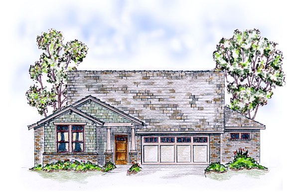 Bungalow, Craftsman, Ranch, Traditional House Plan 56567 with 4 Beds, 3 Baths, 2 Car Garage Elevation