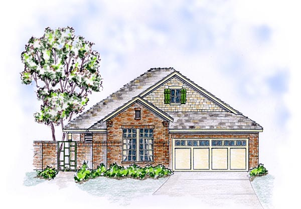 European Ranch Traditional House Plan 56572 Elevation