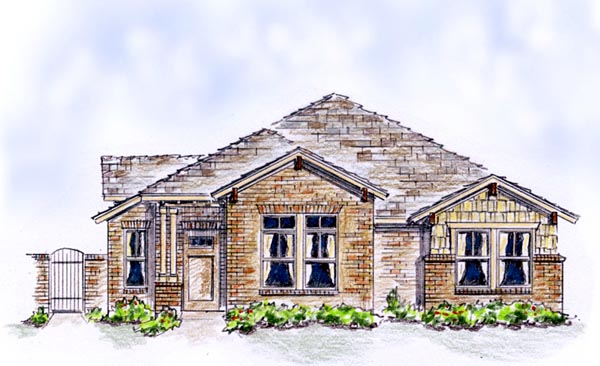Bungalow Country European Farmhouse Traditional Elevation of Plan 56575