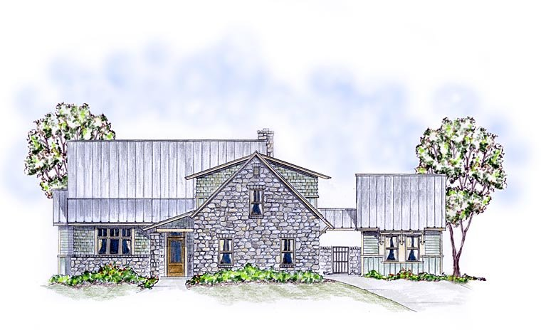 Cottage Country Craftsman Farmhouse House Plan 56576 Elevation