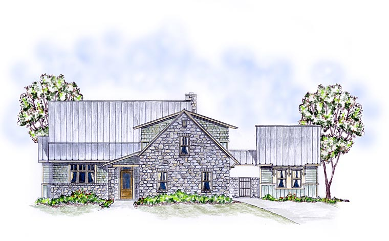 Cottage, Country, Craftsman, Farmhouse House Plan 56576 with 4 Beds, 4 Baths, 2 Car Garage Elevation
