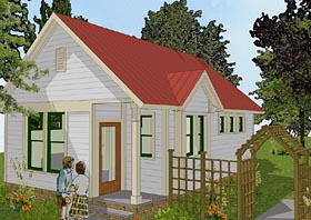 Traditional , Cottage , Cabin , Bungalow House Plan 56581 with 1 Beds, 1 Baths Elevation