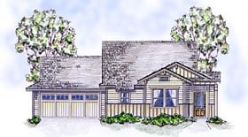 Bungalow , Cottage , Craftsman House Plan 56582 with 3 Beds, 2 Baths, 2 Car Garage Elevation