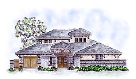 Craftsman , European House Plan 56583 with 4 Beds, 3 Baths, 3 Car Garage Elevation