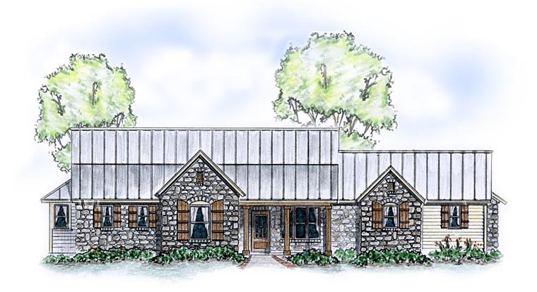 Country , Farmhouse , Traditional House Plan 56585 with 4 Beds, 3 Baths, 2 Car Garage Elevation