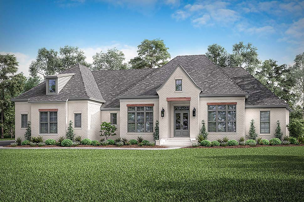Country, European, French Country House Plan 56701 with 4 Beds, 3 Baths, 3 Car Garage Picture 3