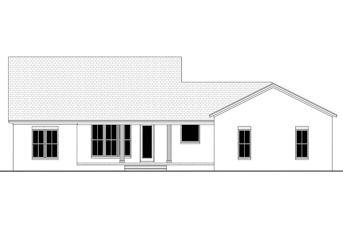 Country, Craftsman, Modern Farmhouse, Traditional House Plan 56703 with 3 Beds , 3 Baths , 2 Car Garage Rear Elevation