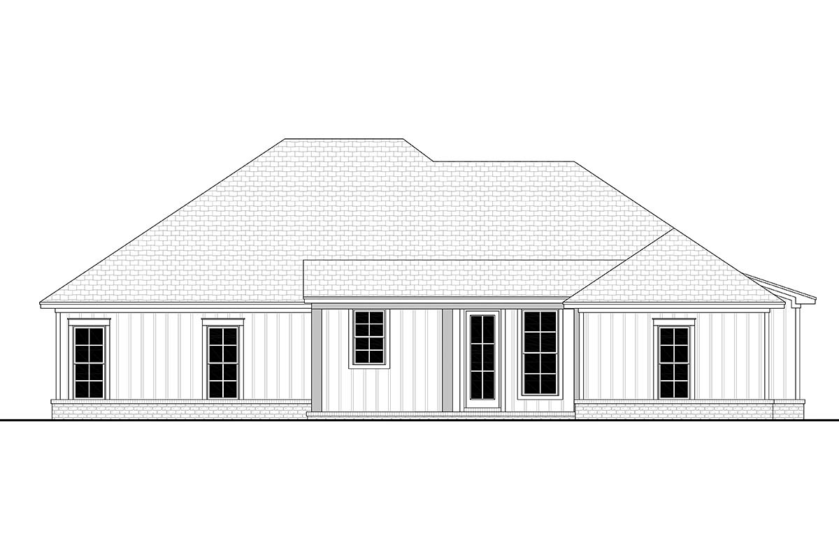 Country , Craftsman , Farmhouse , Rear Elevation of Plan 56704