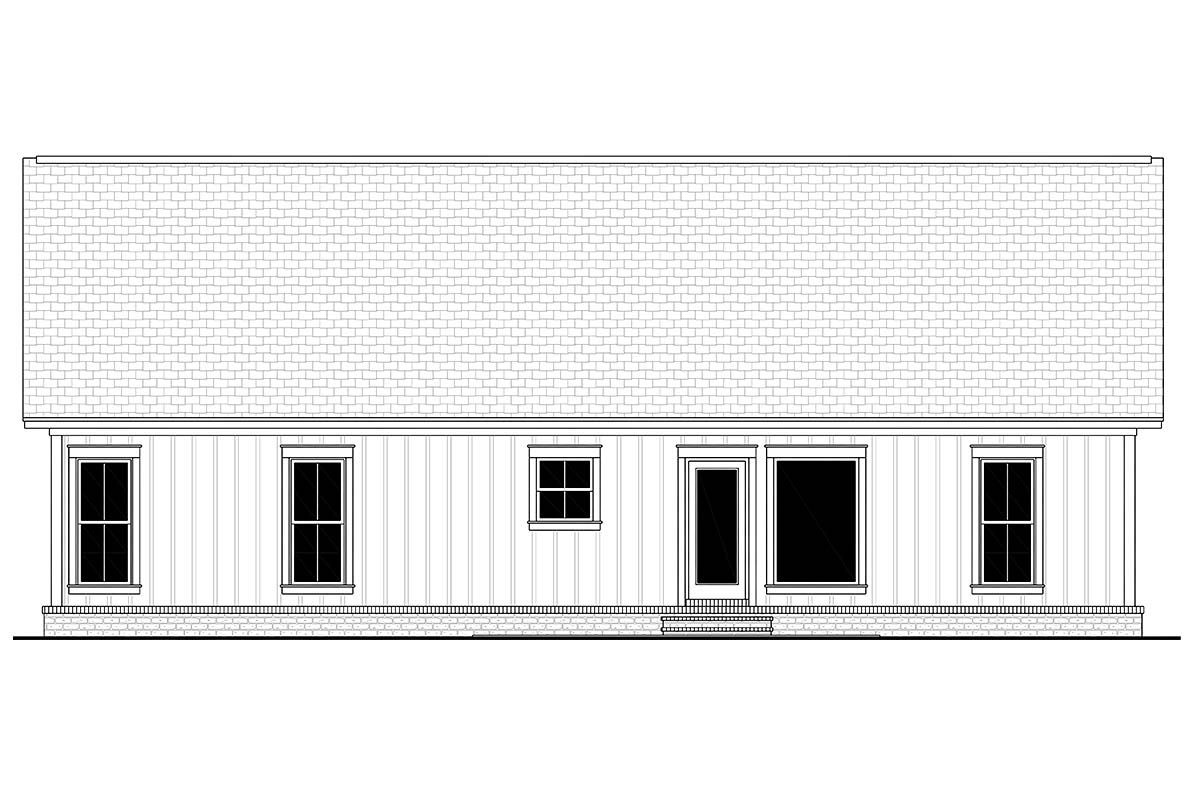 Country Farmhouse Modern Traditional Rear Elevation of Plan 56705
