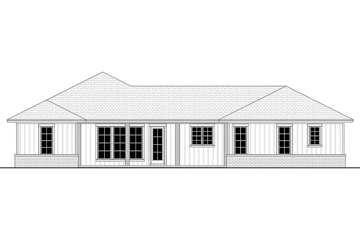 Country, Farmhouse, Ranch House Plan 56706 with 3 Beds , 3 Baths , 2 Car Garage Rear Elevation