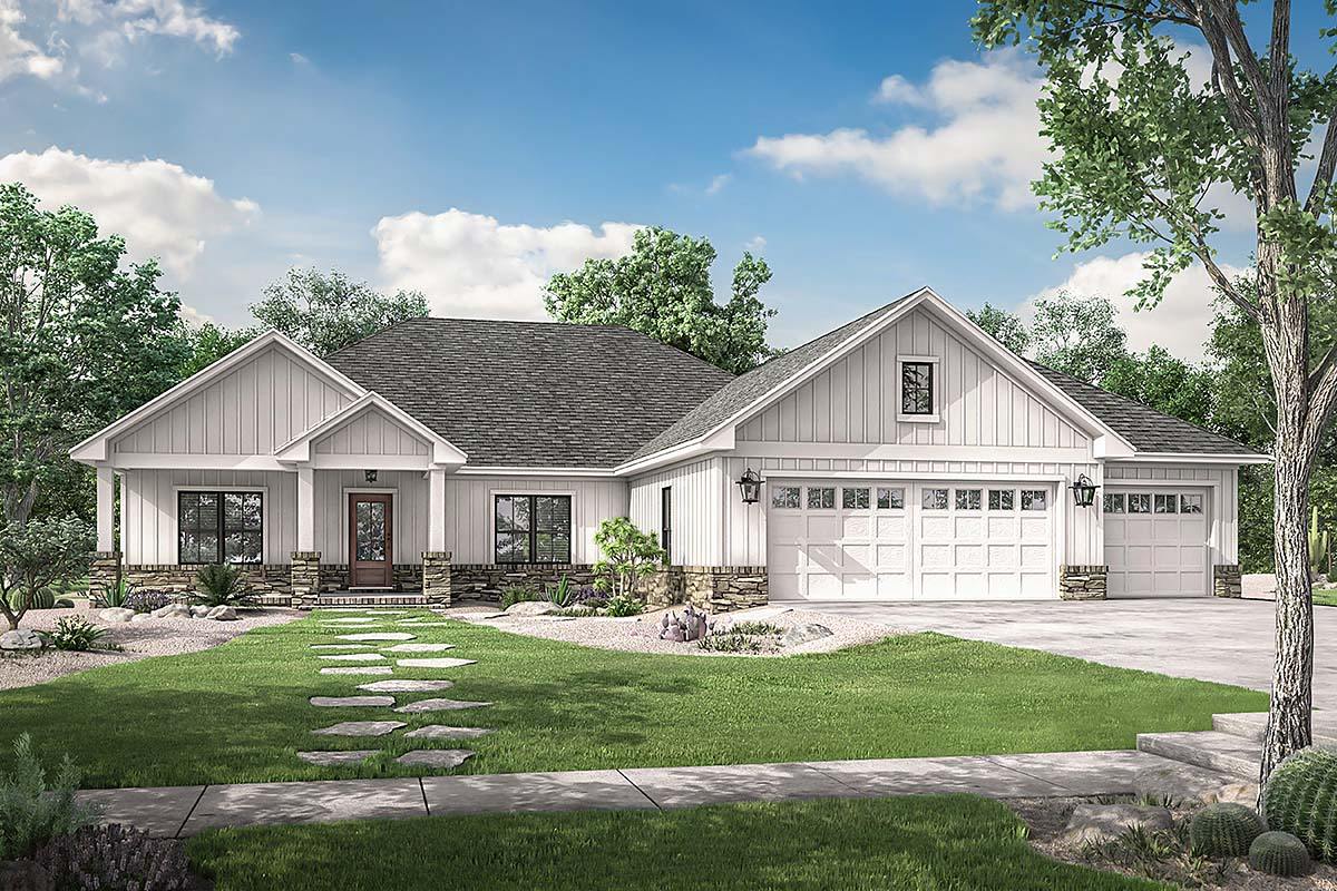 Craftsman , Modern Farmhouse , Ranch , Elevation of Plan 56707
