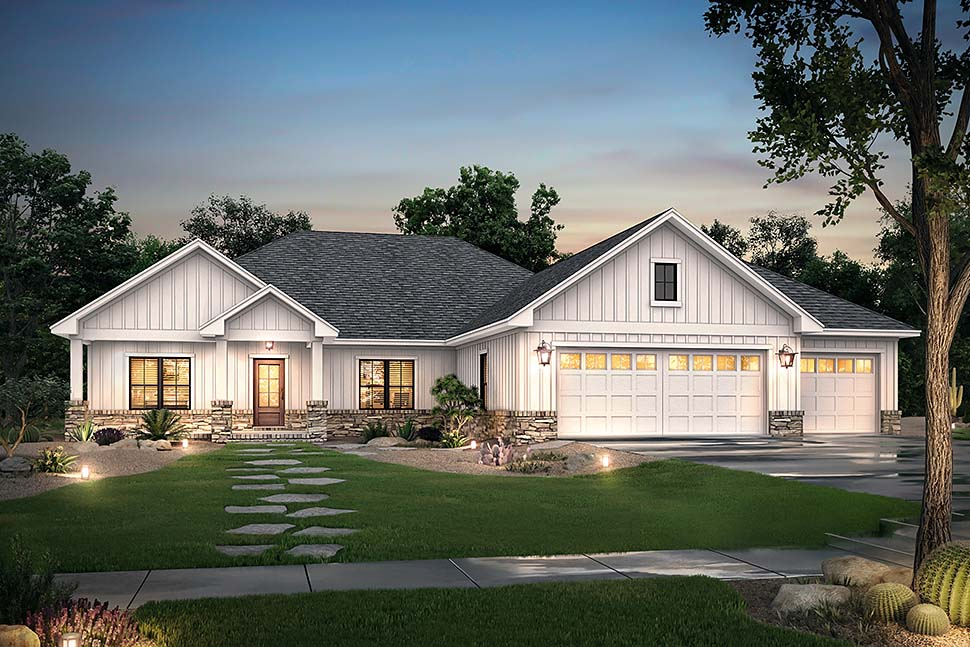Craftsman, Farmhouse, Ranch House Plan 56707 with 3 Beds, 3 Baths, 3 Car Garage Picture 4