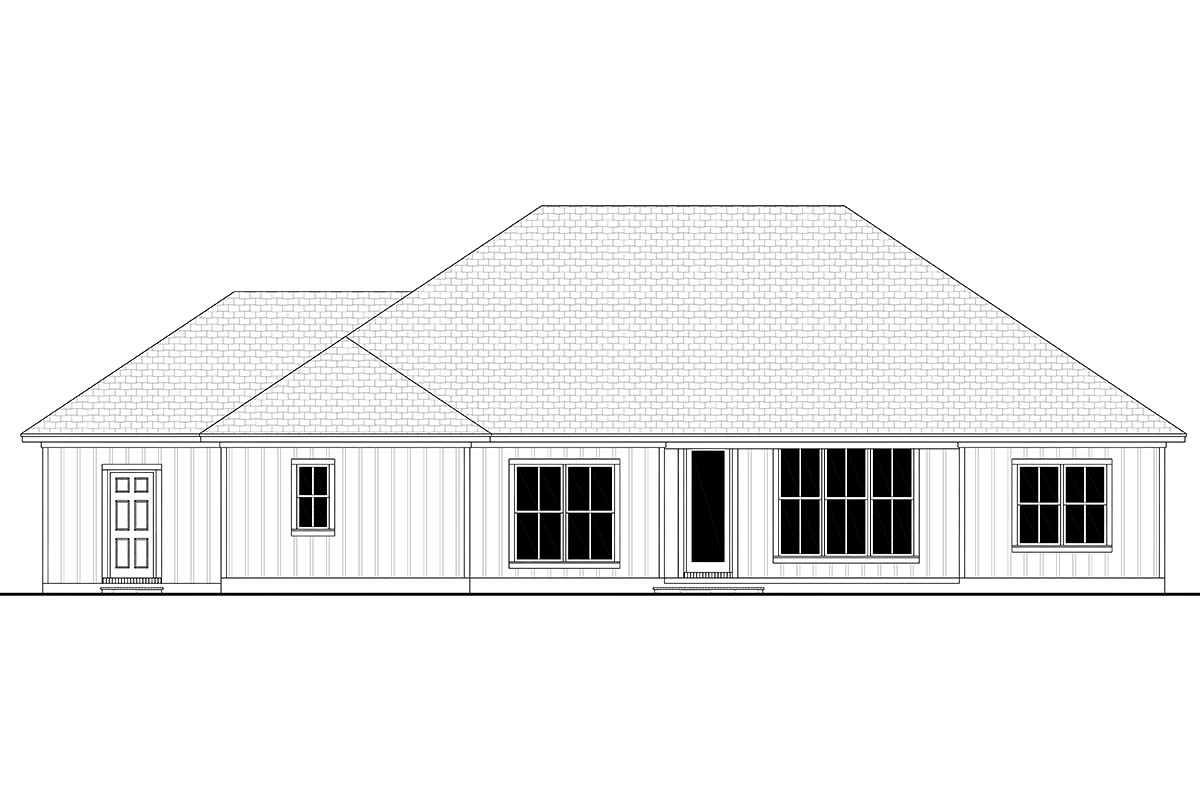Craftsman , Modern Farmhouse , Ranch , Rear Elevation of Plan 56707