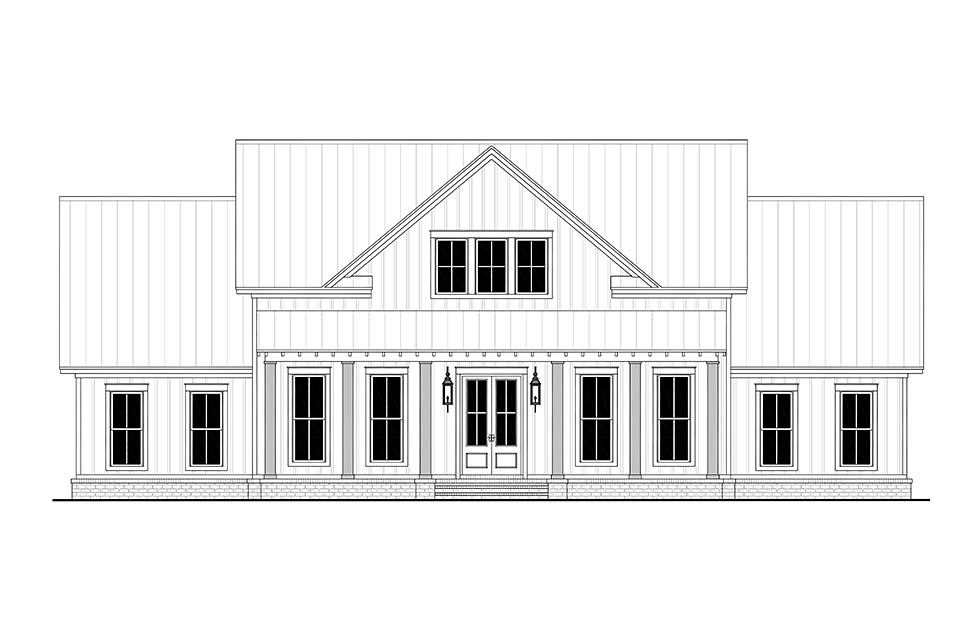 Country, Farmhouse, One-Story, Traditional House Plan 56710 with 4 Beds, 3 Baths, 2 Car Garage Picture 3