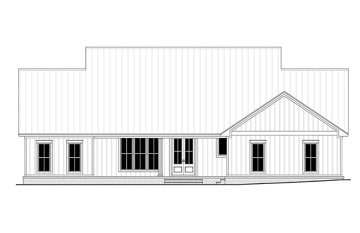 Country, Farmhouse, One-Story, Traditional House Plan 56710 with 4 Beds, 3 Baths, 2 Car Garage Rear Elevation