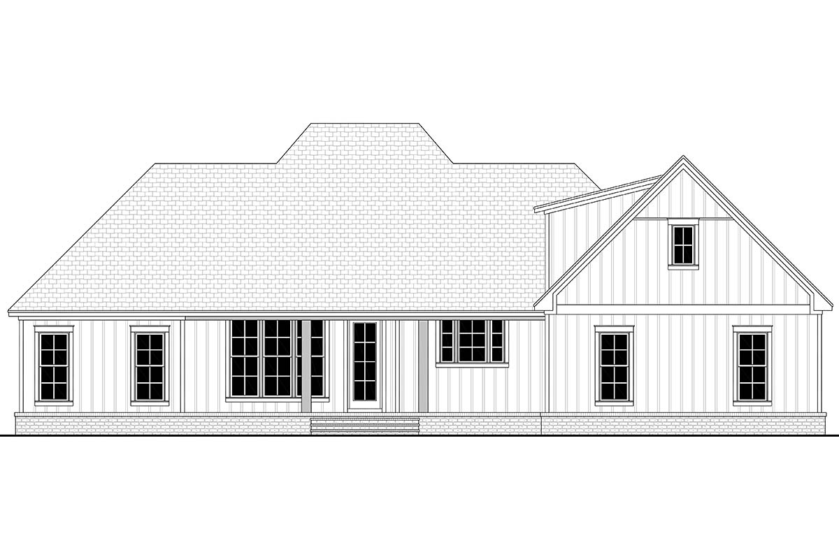 Country, Craftsman, Modern Farmhouse, Southern, Traditional House Plan 56711 with 3 Beds , 3 Baths , 2 Car Garage Rear Elevation