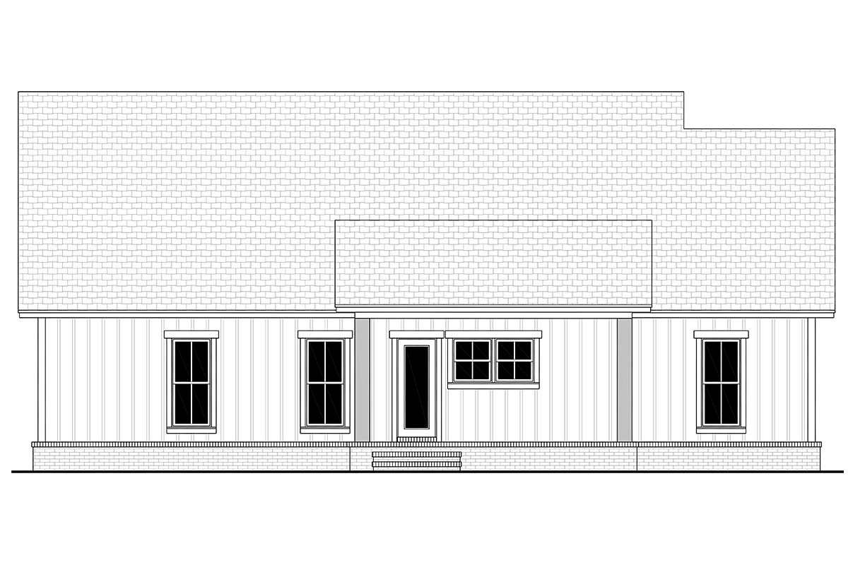 Country, Modern Farmhouse, Southern, Traditional House Plan 56712 with 3 Beds, 2 Baths, 2 Car Garage Rear Elevation