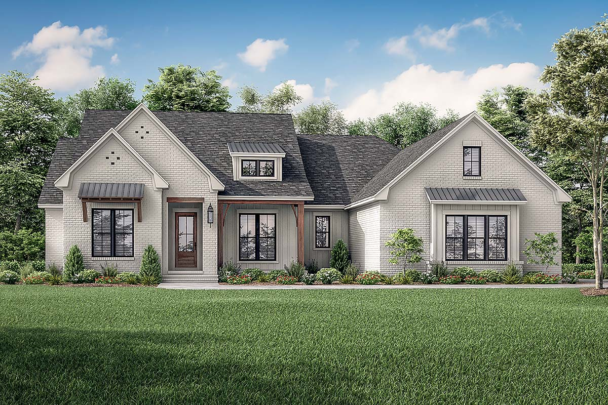 Contemporary, Country, Craftsman, Farmhouse, Southern, Traditional House Plan 56714 with 4 Beds, 3 Baths, 2 Car Garage Elevation
