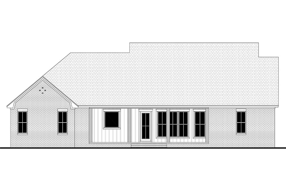 Contemporary, Country, Craftsman, Farmhouse, Southern, Traditional House Plan 56714 with 4 Beds, 3 Baths, 2 Car Garage Rear Elevation