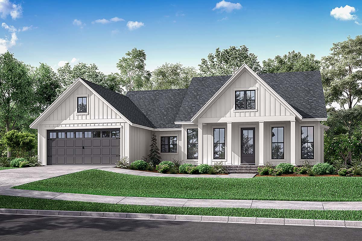 Cottage, Country, Modern Farmhouse, Modern, One-Story, Traditional House Plan 56715 with 3 Beds , 2 Baths , 2 Car Garage Elevation