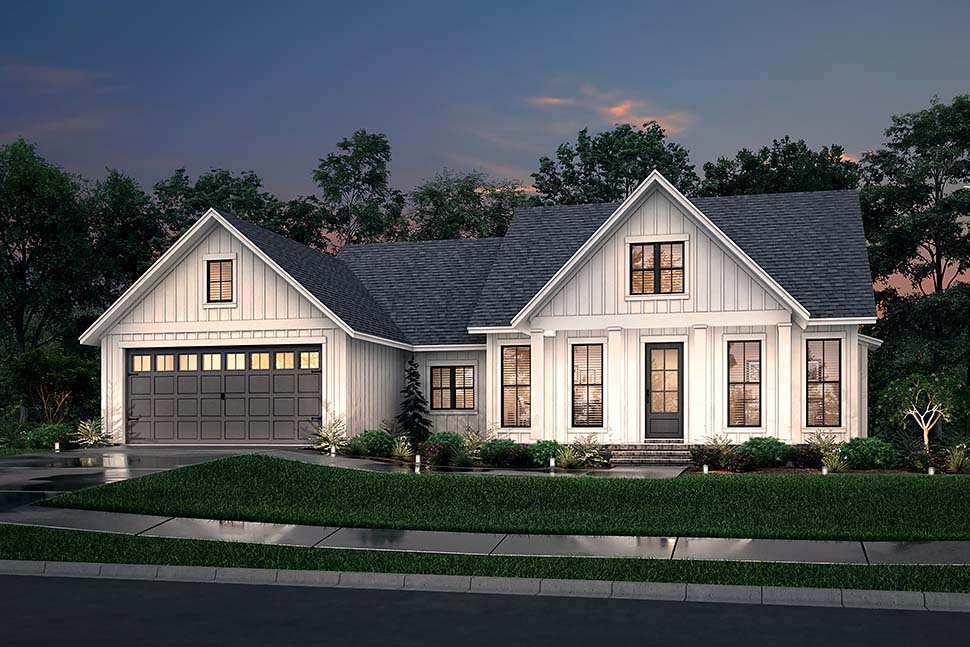Cottage, Country, Farmhouse, Modern, One-Story, Traditional House Plan 56715 with 3 Beds, 2 Baths, 2 Car Garage Picture 4
