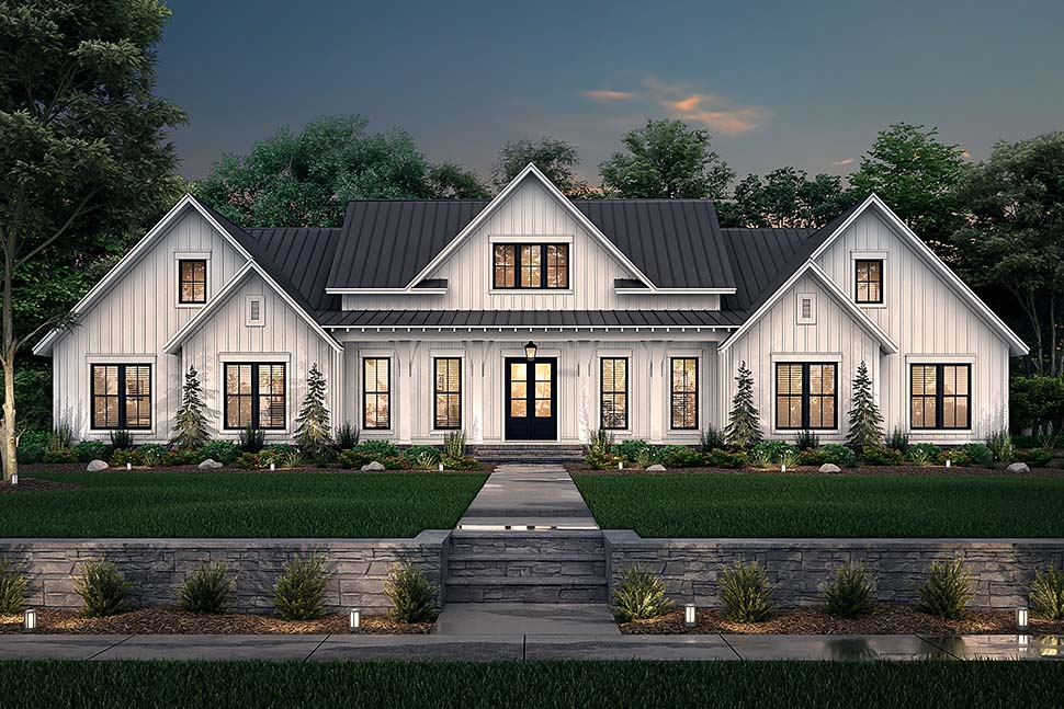 Country, Farmhouse, One-Story, Traditional House Plan 56716 with 4 Beds, 4 Baths, 3 Car Garage Picture 4