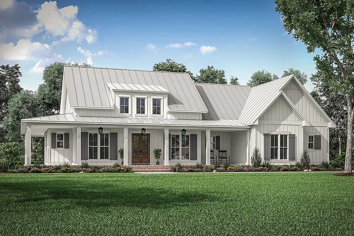 Country, Craftsman, Farmhouse House Plan 56717 with 3 Beds, 3 Baths, 2 Car Garage Front Elevation
