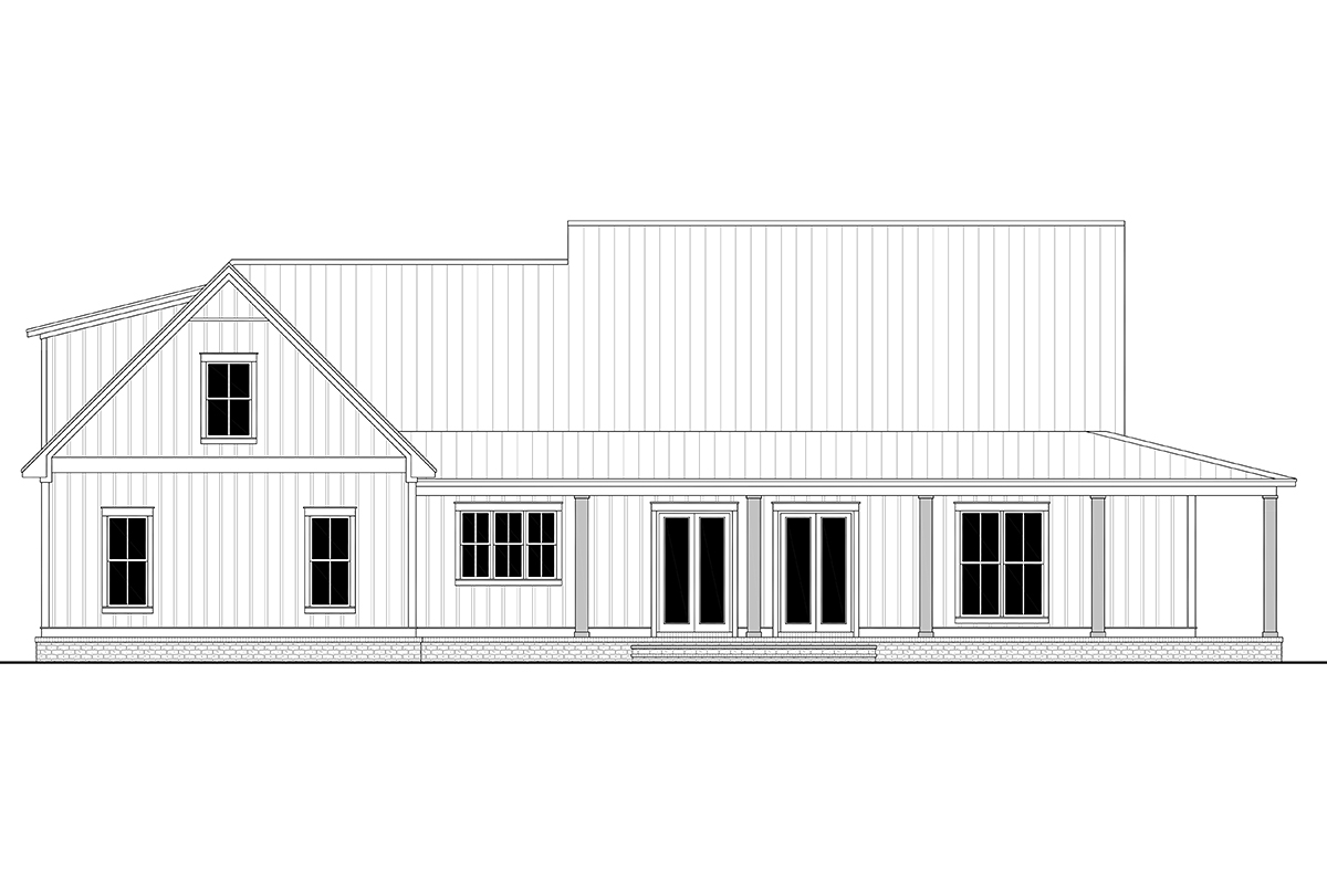 Country, Craftsman, Farmhouse House Plan 56717 with 3 Beds, 3 Baths, 2 Car Garage Rear Elevation