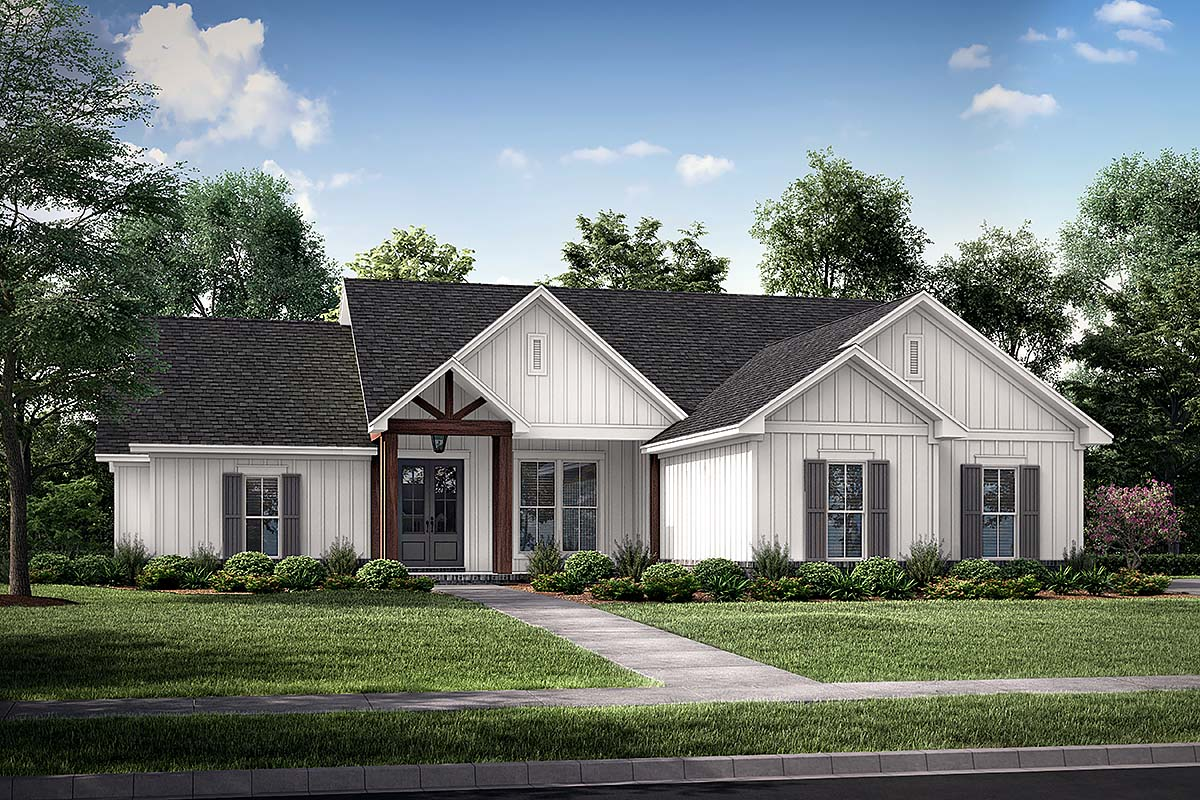Country, Farmhouse, One-Story House Plan 56719 with 4 Beds, 2 Baths, 2 Car Garage Front Elevation