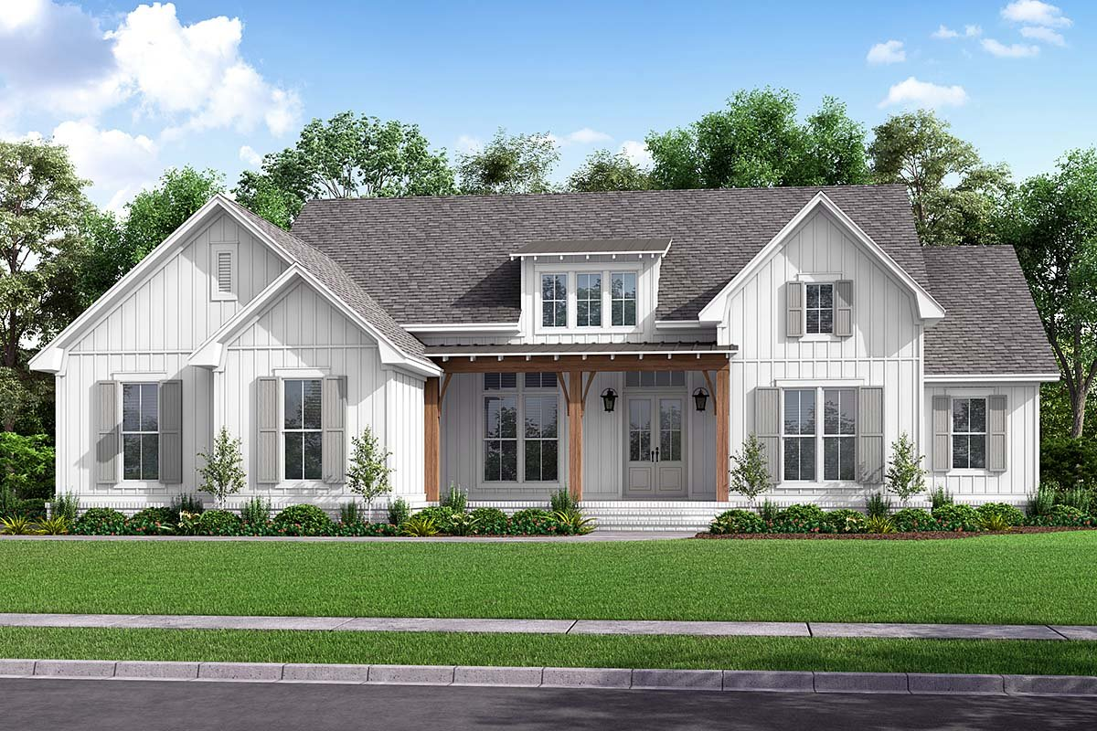 Country, Craftsman, Modern, One-Story, Traditional House Plan 56720 with 4 Beds , 3 Baths , 2 Car Garage Elevation