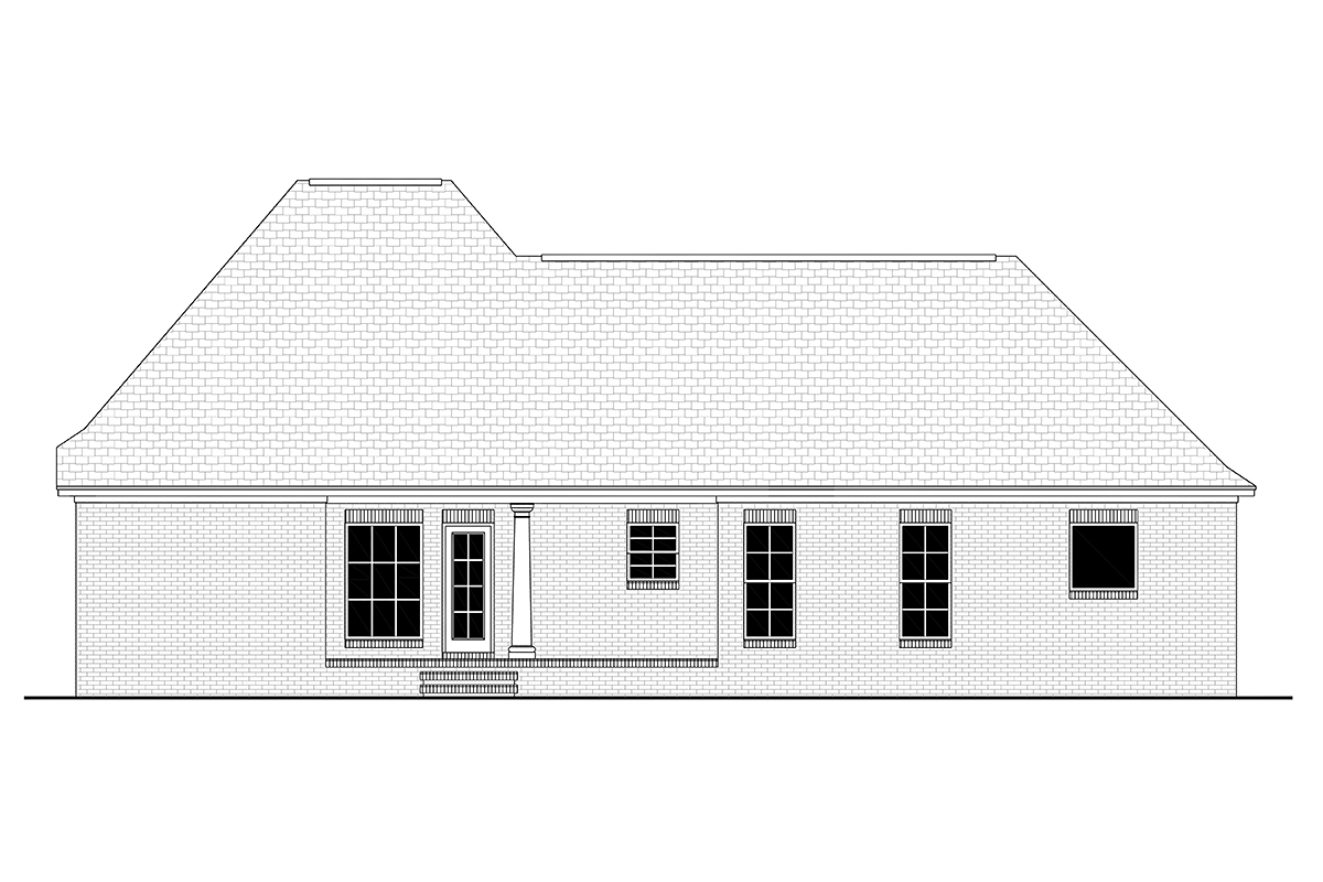 Colonial French Country Southern House Plan 56900 Rear Elevation