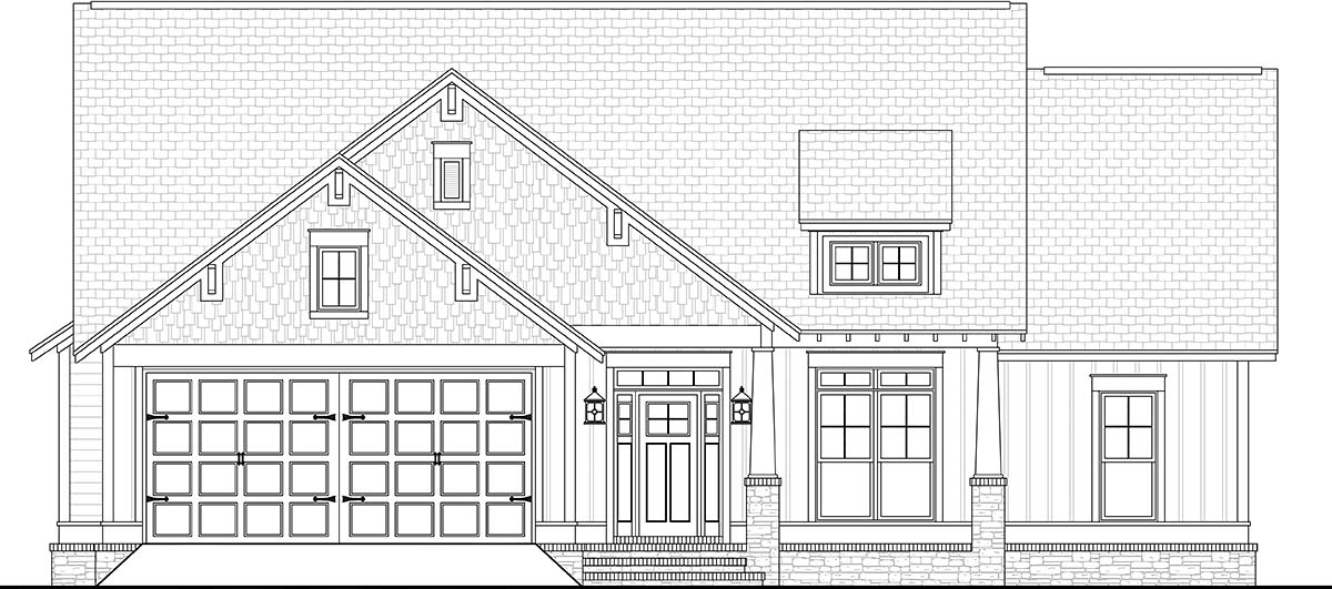 Cottage, Country, Craftsman, Traditional 2 Car Garage Plan 56901 with 3 Beds, 2 Baths Picture 1