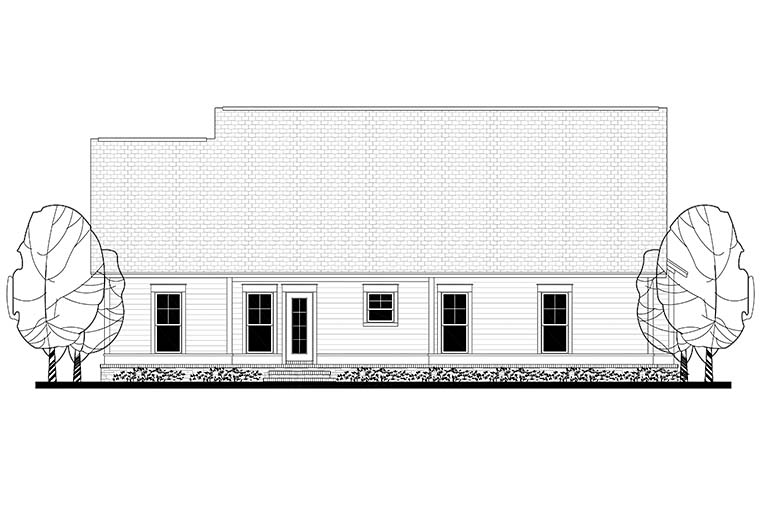 Cottage Country Craftsman Traditional House Plan 56901 Rear Elevation