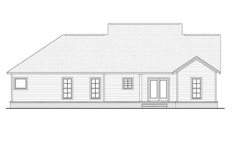 Cottage Country Craftsman Traditional House Plan 56902 Rear Elevation