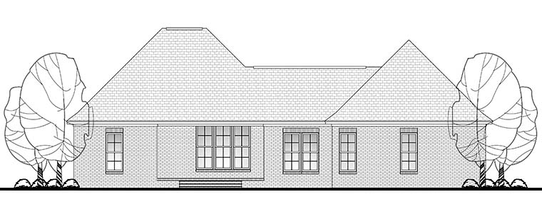 Country Craftsman Traditional Rear Elevation of Plan 56903