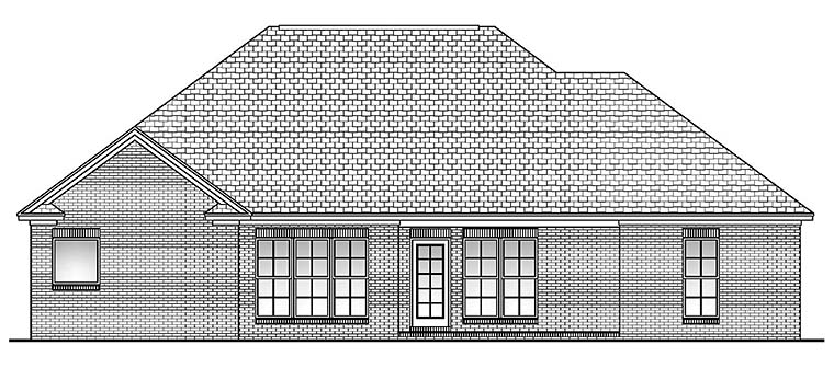 Country, French Country House Plan 56904 with 3 Beds, 3 Baths, 2 Car Garage Rear Elevation