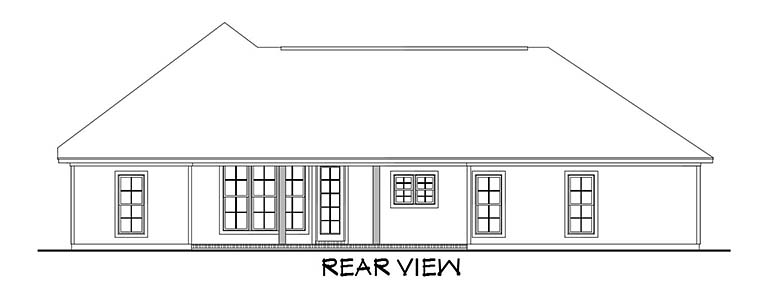 Country Craftsman Southern Traditional Rear Elevation of Plan 56905