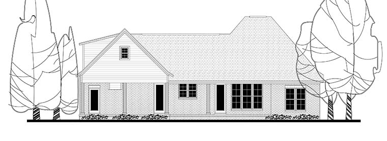 Country , European , French Country , Southern , Rear Elevation of Plan 56908